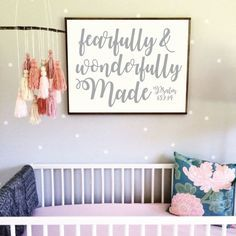 Printable Nursery Art Fearfully and Wonderfully Made Wood Sign by BordenSpecifics on Etsy