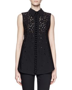 B37ZS Proenza Schouler Sleeveless Collared Embroidered Top, Black