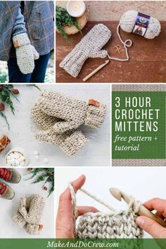 These simple chunky crochet mittens for women look knit and can be worked up in only three hours! This easy, detailed pattern and tutorial is perfect for fall and winter gifts and craft fairs. Featuring the Waistcoat crochet stitch and Lion Brand Wool-Eas Crochet Mitts, Crochet Mittens Free Pattern, Knitting Patterns Free, Free Crochet, Crochet Patterns, Crochet Slippers, Quick Crochet, Hat Patterns, Crochet Granny
