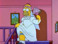 When you say hi to your crush and they say hi back. * image of Homer Simpson walking down the stairs wearing a wedding dress * Simpsons Meme, The Simpsons, Cartoon Memes, Cartoon Pics, Funny Memes, Cartoons, Hilarious, Reaction Pictures, Funny Pictures