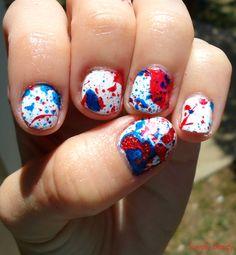 July 4th splatter mani!