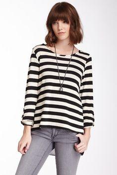 Striped black and white Chiffon Back Top by Blu Pepper