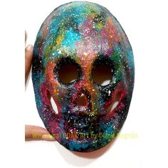 Galaxy paper mache mask, skull mask, bookshelf decor, cosmic art,... ($23) ❤ liked on Polyvore featuring home, home decor, skull home decor, skull home accessories and colorful home decor