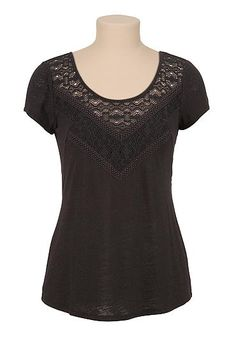 Lace trim slub knit tee (original price, $26) available at #Maurices