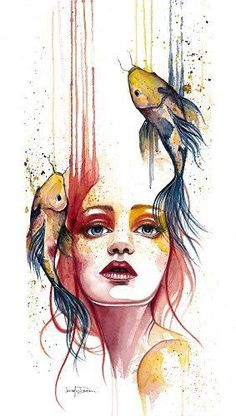 "Artist Jennifer Sonksen Duran ""Transient"" Watercolor, x by artist Jennifer Duran. See her portfolio by visiting ""Transient"" Watercolor, x by artist Jennifer Duran. See her portfolio by visiting Art And Illustration, Animal Illustrations, Drawing Sketches, Cool Drawings, Face Sketch, Drawing Faces, Drawing Drawing, Drawing Women, Art Faces"