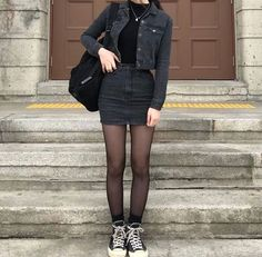 Korean Fashion – How to Dress up Korean Style – Designer Fashion Tips Edgy Outfits, Mode Outfits, Grunge Outfits, Winter Outfits, Fashion Outfits, Fashion Clothes, Black Outfit Grunge, Style Fashion, Christmas Outfits