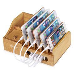 Supporto di Bambù per hub ricarica smartphone #Apple e #Android
