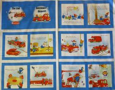 """To the Rescue, Book Panel, Quilting Treasures,Panel, 24 """" x 44"""" , Richard Scarry's Busytown, Fast Shipping, P119"""