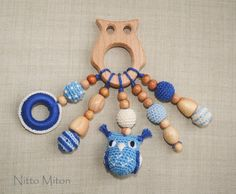 Organic wooden teether Baby teething toy Blue by NittoMiton