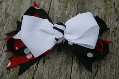 Handmade boutique style black white and red by RockabillyBabyPlace, $2.75