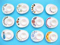 Figgjo egg cups: (From top left) Valle, Market, Cadiz, Ruth . Nordic Design, Diy Design, Vintage Egg Cups, New Egg, Kitchenware, Tableware, Vintage China, Retro Vintage, Scandinavian Design