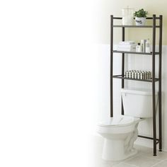 Who knew the shelf that goes behind the toilet was called an Etagere? I need one. 61.5hx25.25wx8.5d. Lowes Bathroom, Bathroom Storage, Bathrooms, Apartment Life Hacks, Apartment Ideas, Toilet Shelves, New Bathroom Ideas, Tiny Apartments, Ladder Bookcase