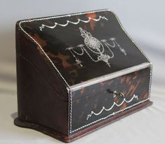 Antique tortoiseshell and silver pique stationary box signed J O Vickery 179,181,193 Regent St. - Gavin Douglas Antiques