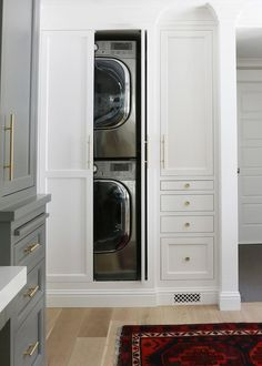 Concealed Stacked Washer and Dryer, Transitional, Laundry Room, Benjamin Moore Chelsea Gray