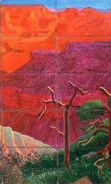 """Detail from """"A Bigger Grand Canyon"""" 1998 oil on 60 canvases, 81 x 291 in. overall David Hockney"""
