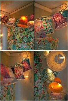 Cover paper cups with fabric and add lights!