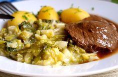 Hovězí maso s kapustou, vařené brambory