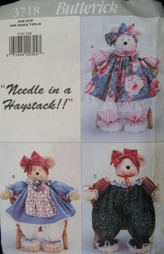 Needle in a Haystack Butterick No 3718 Pammy Bears by Elliesstudio, $7.00