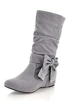 Low Heel Fashion Boots Mid-Calf Boots With Bowknot