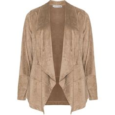 Maxima Beige Plus Size Open-fronted shawl collar jacket ($130) ❤ liked on Polyvore featuring outerwear, jackets, beige, plus size, plus size wrap jacket, straight jacket, open front jacket, wrap jacket and beige jacket