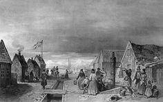 """Rue principale de Reykjavík. En danois Hoved gaden."" Dessiné par A. Mayer (Text from Paul Gaimard), 1835."