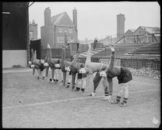 Queens Park Rangers footballers doing physical training, 1939, George W Roper © Daily Herald / National Media Museum, Bradford / SSPL