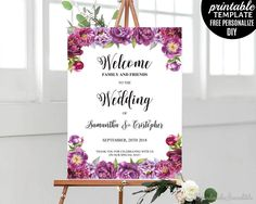 Wedding Welcome Poster Template. Printable Wedding Welcome Poster. Plum and Purple Flowers Poster. Purple Wedding Poster. Blush Floral PDF by HandmadeIncredible on Etsy
