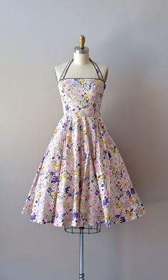 vintage 1950s dress / cotton 50s sundress / Mayenne Gardens dress
