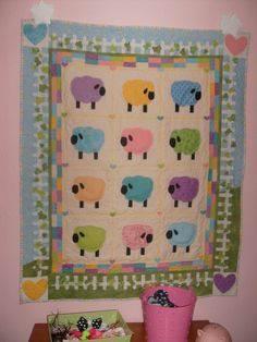 Pastel Sheep Baby Girl Quilt