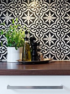 inspiring moroccan tile backsplash ideas black white tiles geometric pattern wood countertop