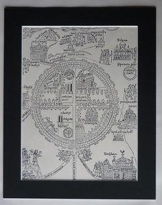 Medieval Map of Jerusalem Available Framed by PrimrosePrints