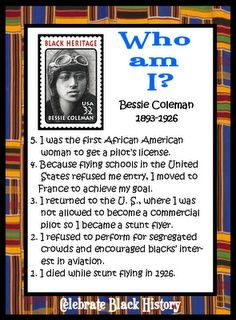 """Black History """"Who am I?"""" card game. 24 cards attractive cards featuring African Americans, plus templates for students to create their own. Writing/art activities included!"""