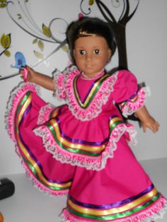 Mexican folklorico bright pink Jalisco by DeColoresDollFashion