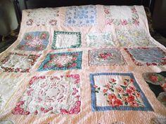 Custom made vintage hanky quilt on pink chenille for customer Carol.