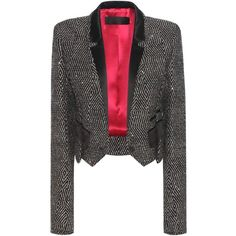 Haider Ackermann Cropped Virgin Wool-Blend Blazer ($1,985) ❤ liked on Polyvore featuring outerwear, jackets, blazers, black, cropped blazer jacket, cropped blazer, cropped jacket, haider ackermann and blazer jacket