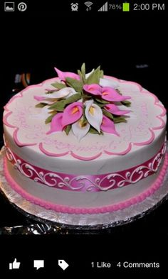 Pink and white calla lilly cake