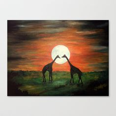 Full Moon Giraffe Love-Inspired by TaLins!!! Stretched Canvas by Rokin Art by RokinRonda - $85.00