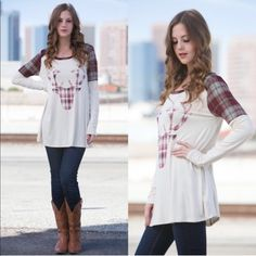 LASTLEONA reindeer plaid top - CREAM SELF: 95% RAYON 5% SPANDEX SPANDEX MADE IN USA. Super festive & cute not only for Christmas but for fall. NO TRADE, PRICE FIRM Bellanblue Tops Tees - Long Sleeve