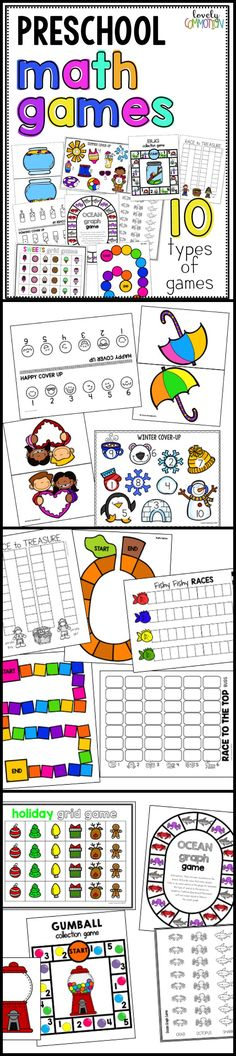 Learn and practice many preschool math skills through games! Get 10 different types of games - 114 pages of gameboard, spinners and dice!