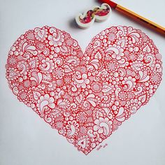 ❤ Love Red Doodle
