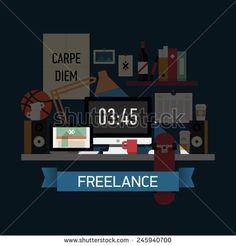 Vector modern flat design creative illustration on freelancer workplace at night | Creative illustration on overtime working creative person work desk - stock vector