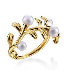 Mikimoto - Olive Collection 18K Yellow Gold Olive Branch Pearl Ring