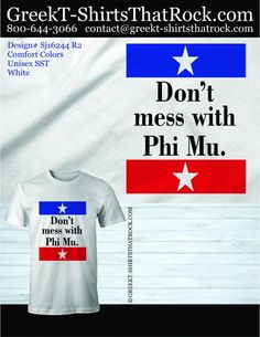 Like this Phi Mu design? We can customize it for  you! Just email your instructions to prographics . sportswear @ gmail . com #phimu #greektshirtsthatrock #GTTR