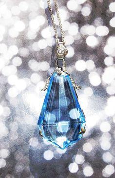 Vintage Blue Crystal Huge Art Deco Period Pendant