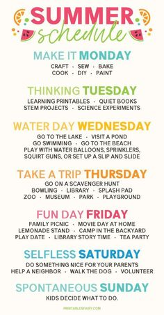Create a Weekly Summer Schedule that gives kids something to look forward to every day and adds a variety of fun activities to your week! # summer family activities Summer Schedule for Kids Summer Activities For Kids, Family Activities, Toddler Activities, Kids Summer Schedule, Family Schedule, Daily Schedule Kids, Summer Camp Themes, Summer Fun For Kids, Toddler Schedule