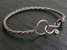 Copper & Twisted Sterling Bangle