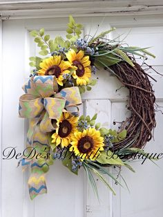 Sunflower Grapevine Wreath-Burlap Sunflower Wreath-Summer Wreath