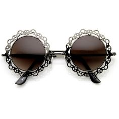 Womens Fashion Metal Lace Cut Round Circle Fashion Sunglasses 8963 ($11) found on Polyvore