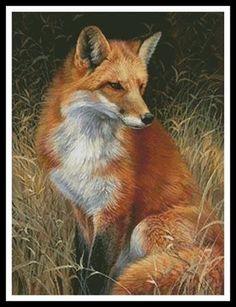 Red,Fox,Painting,Cross,Stitch,Pattern,Cross Stitch Pattern