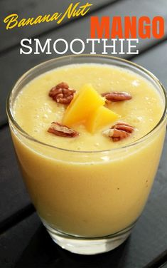 Banana Nut Mango Smoothie click now for more. Juice Smoothie, Smoothie Drinks, Smoothie Bowl, Fruit Smoothies, Healthy Smoothies, Healthy Drinks, Smoothie Recipes, Detox Drinks, Healthy Eats